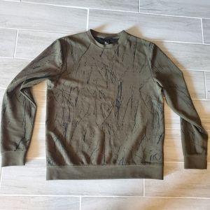 Olive green H&M black edgy design sweater